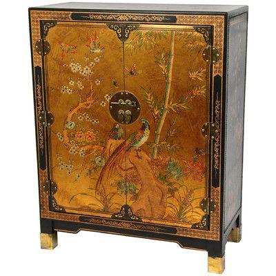 Oriental Furniture Nestling Birds Cabinet & Reviews | Wayfair