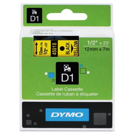Dymo D1 High-Performance Polyester Removable Label Tape, 1/2 inch x 23 ft, Yellow