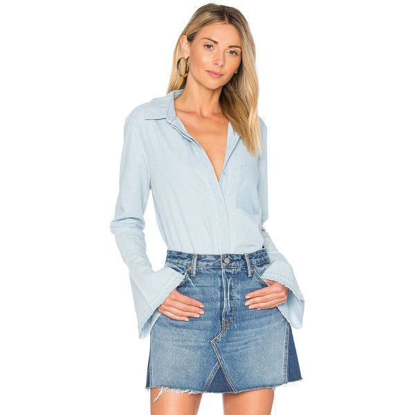 The Fifth Label The Motel Button Up (€75) ❤ liked on Polyvore featuring tops, blouses, button ups, button up blouse, button front top, blue blouse, flare sleeve blouse and blue button up blouse