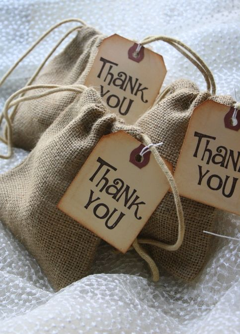 Burlap Favor Bags - Rustic Wedding Favors -  BAGS ONLY - Set of 10 (5X6)