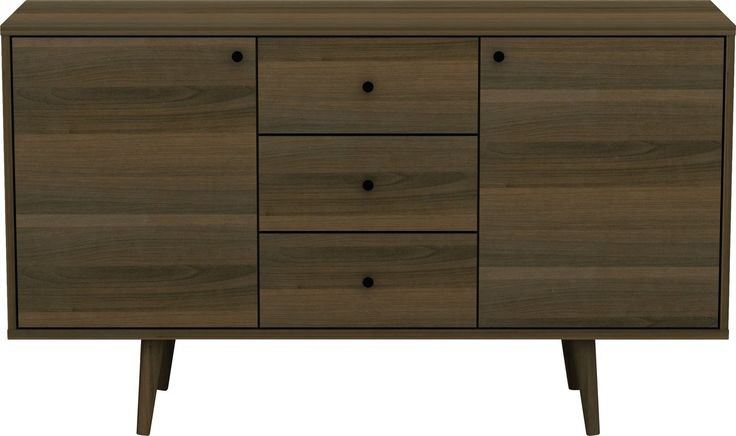 With its clean lines and rich woodgrain finish, this chic sideboard lends a touch of mid-century modern appeal to any aesthetic. Made from a practical mixture of solid hardwoods with walnut veneers, this charismatic design features a simple rectangular silhouette and four round, tapered legs. Two side cabinets include adjustable shelves for serveware, fine china, and your collection of crystal stemware behind two unadorned doors, while three slide-out shelves offer ample room to stow away…