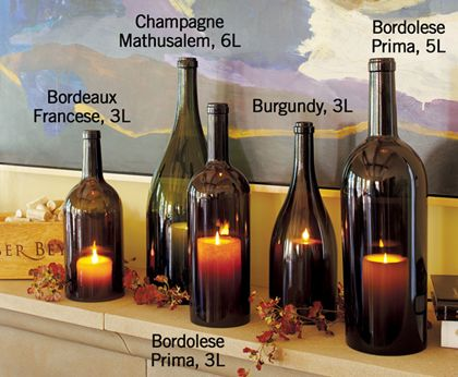 """Find out how to do it yourself wine bottle candle covers.  Great idea! Funny quote from the blog page: """"...Now, if you like this sort of decor and feel a tiny bit artsy-craftsy, you can spend the $249 on bottles that actually have wine in them, not candles..."""""""