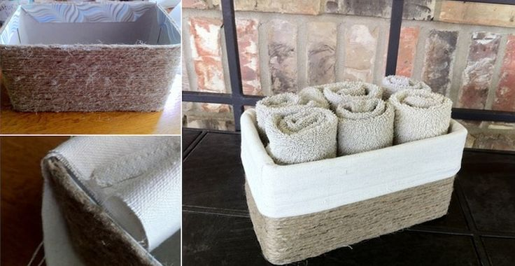 This project ends up looking just like the fabric-lined baskets I see at high-end designer home stores, and it costs way less! For smaller sizes, try using a Kleenex box.