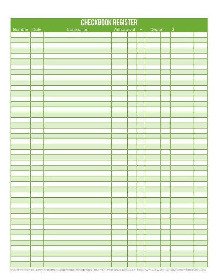 Printable Checkbook Register Pdf Checkbook Register Printable Check Register Check Register
