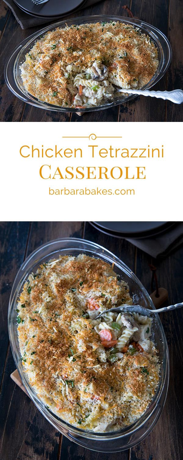 Chicken Tetrazzini Casserole is perfect comfort food; a cross between a chicken pot pie and mac and cheese. It's hearty, cheesy, creamy and delicious.