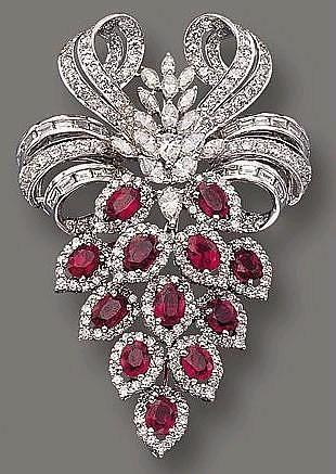 Ruby and diamond brooch