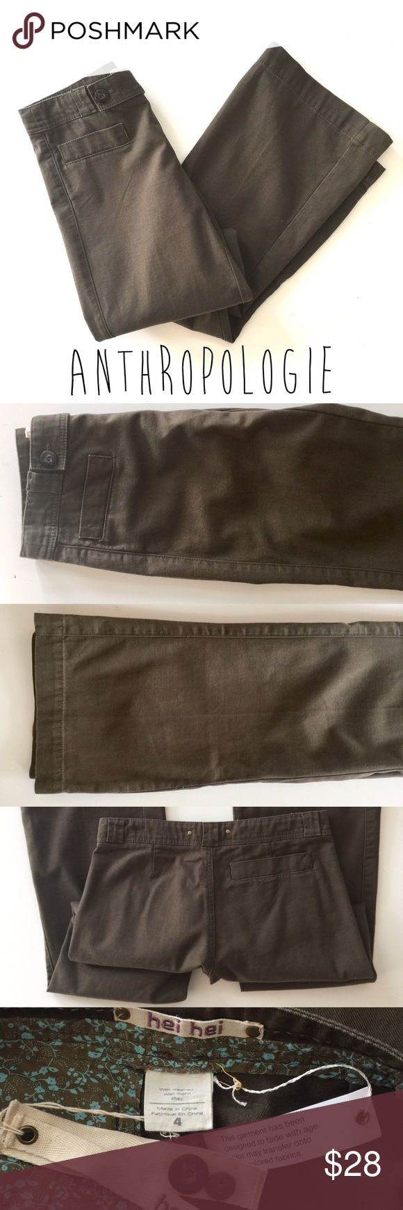 """Anthropologie Hei Hei Olive Flare Pants // Size 4 Fantastic pair of Hei Hei pants from Anthropologie. New with tags. Size 4. Flare leg fit. Fatigue green. 34"""" inseam.                                 Offers welcome! Anthropologie Pants Boot Cut & Flare"""