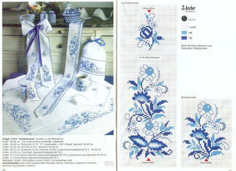Схемы вышивки крестом орнамент синего цвета