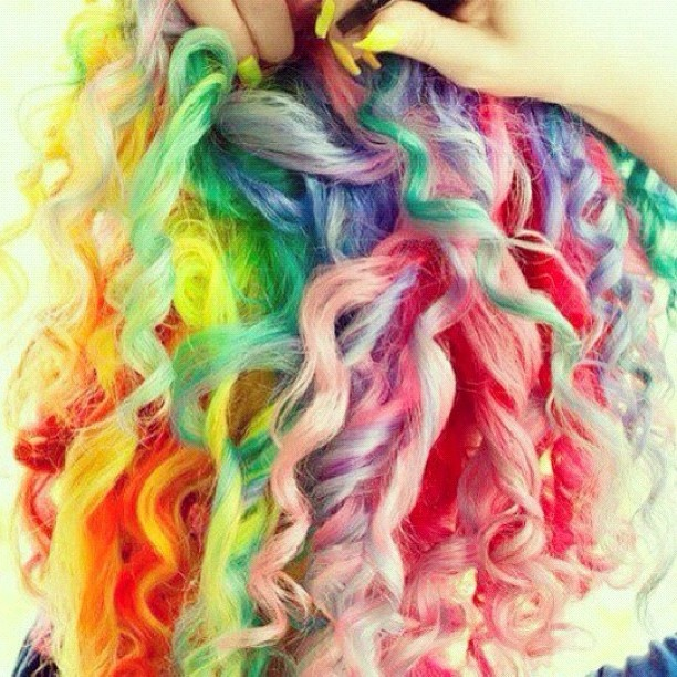 : Rainbows Hair, Hair Colors, Crazy Hair Day, Rainbows Colors, Hair Style, Colour Hair, Hair Looks, Curly Hair, Colors Hair