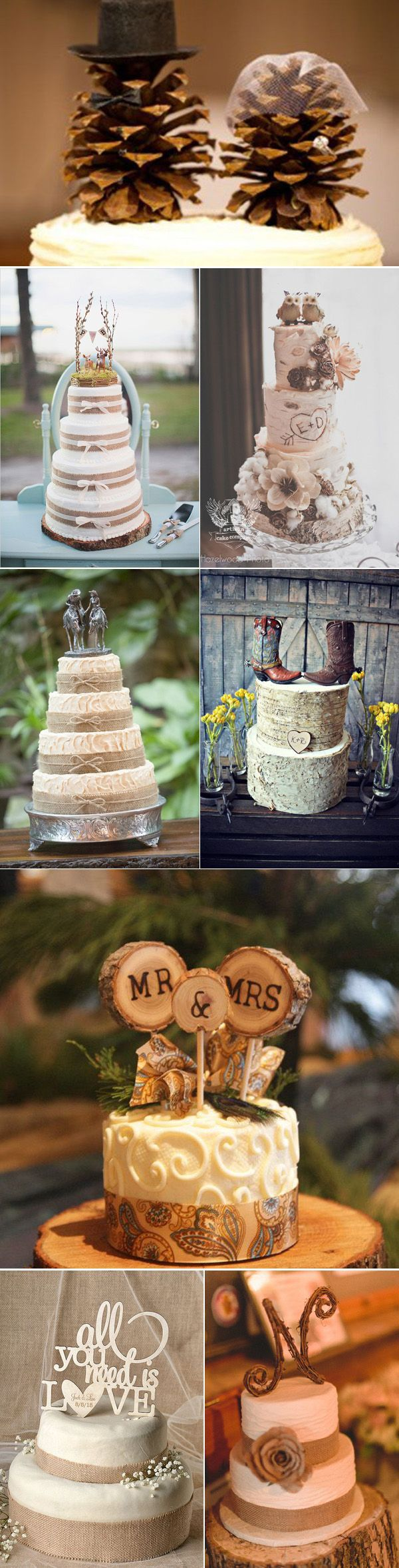 Unique Rustic Wedding Cake Toppers