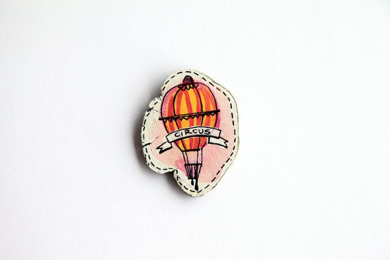 brooch circus illustrated handpainted ooak by treeillustration
