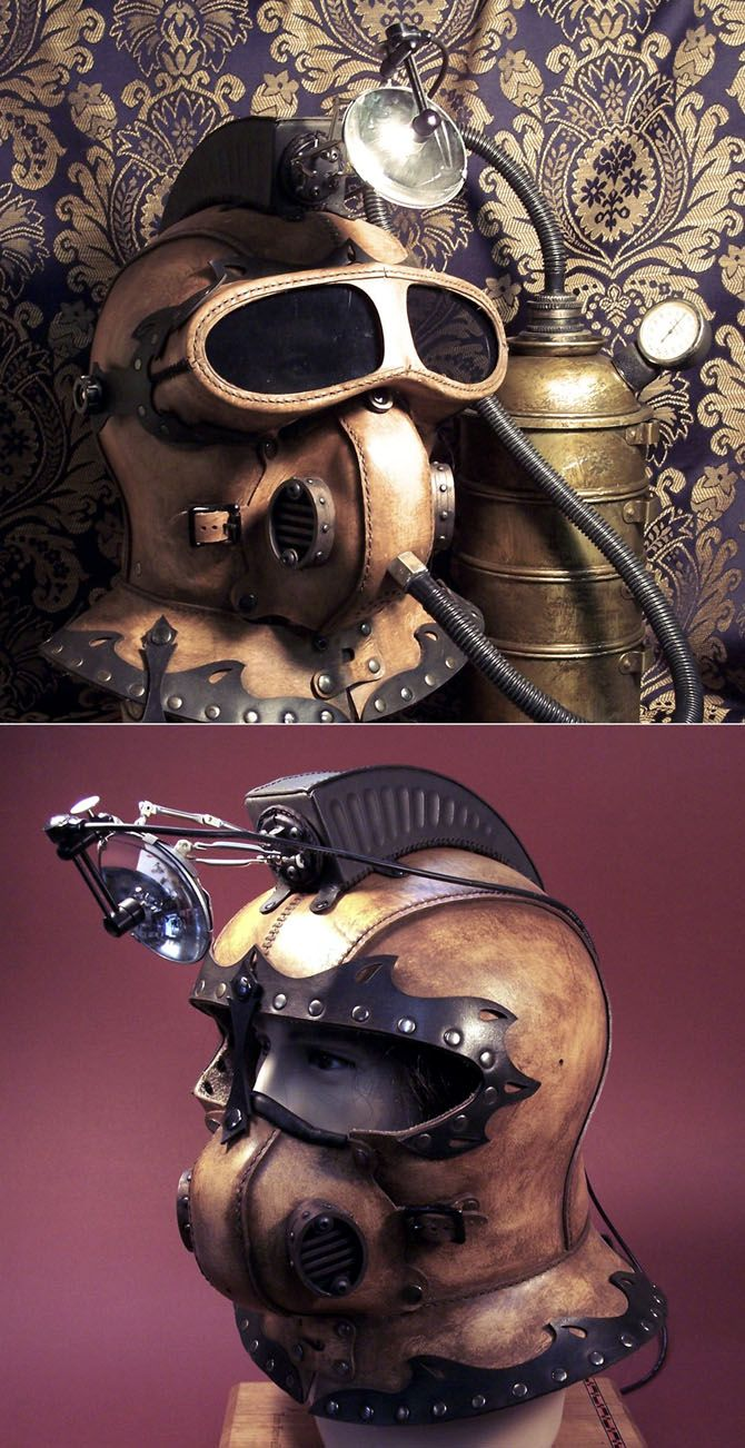"""""""Underground Explorer's Helmet"""" is an odd steampunk masterpiece. It's essentially a helmet with and oxygen tank and a light. By Tom Banwell."""