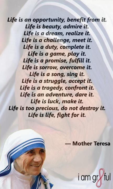 """Quote/s of the Day – September 4 #pinterest #stmotherteresa """"Life is an opportunity, benefit from it. Life is beauty, admire it. Life is a dream, realize it. Life is a challenge, meet it. Life is a duty, complete it............"""