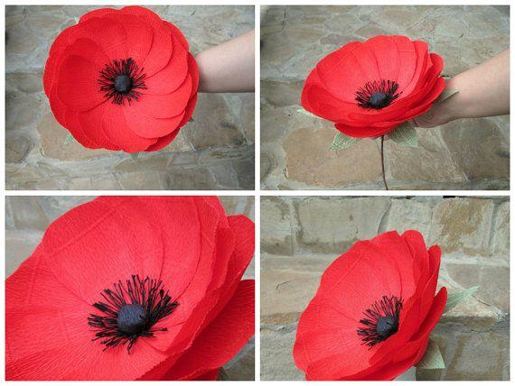 Papel rojo amapola gigante papel flor gigante por LandofFlowers