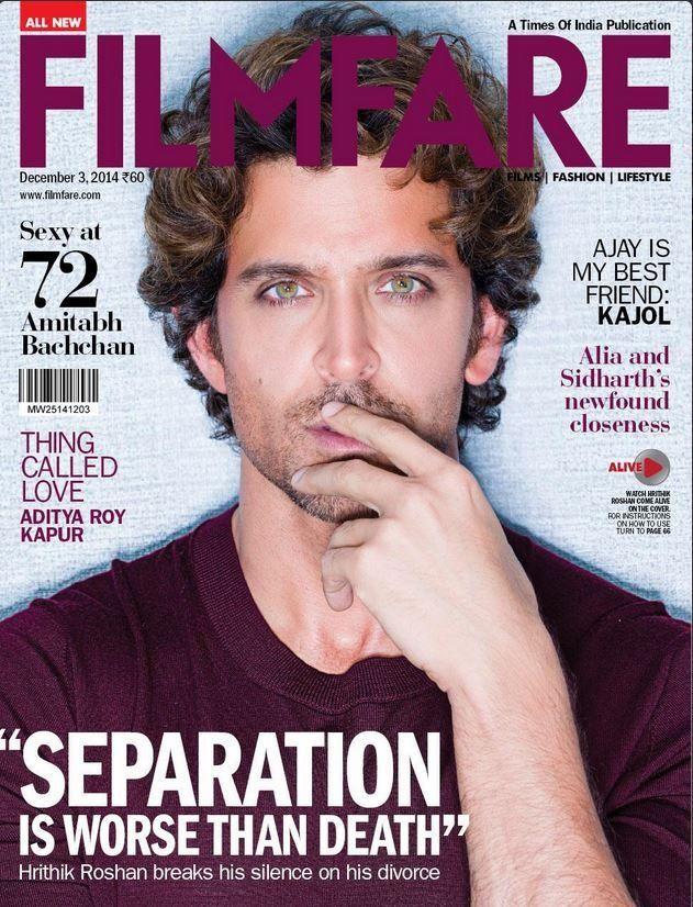 """Separation is worse than death"" : Hrithik Roshan covers Filmfare   PINKVILLA"