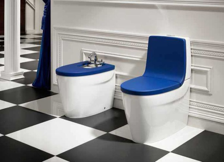 Roca Khroma Close Coupled Toilet in blue.  Contemporary Toilet from UK Bathrooms