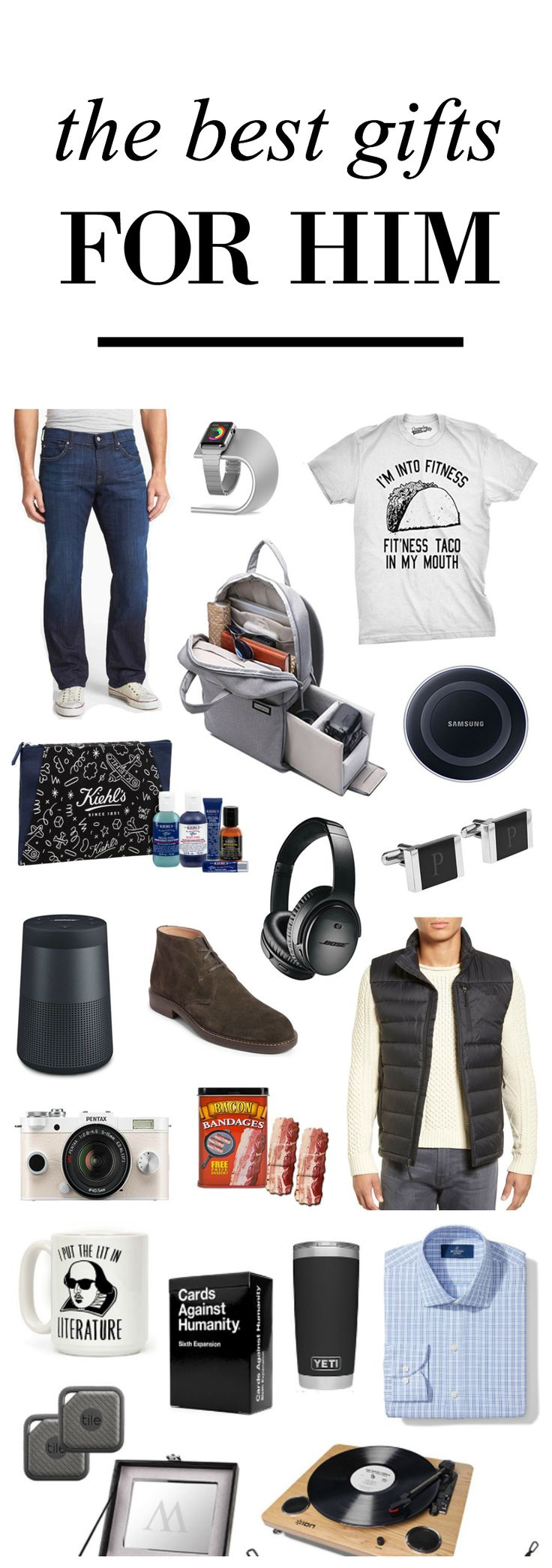 So many great finds | Blogger Mash Elle creates the perfect gift guide for all the men in your life! Perfect for your dad, brother, boyfriend, husband, fiance, cousin, neighbor, coworker, grandparent, uncle, best friend, teacher and more! Includes graphic t-shirts, electronics, games, apparel, fun and unique gifts! Personalized gifts. #giftsforhim #giftguideforhim #christmasgiftguide #affordablegiftsforhim #sotckingstuffers