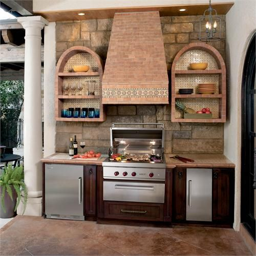 Outdoor Terra Cotta Kitchen I Love The Wall Shelves And Range Hood But I Would Do This Kitchen