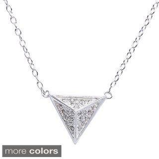 La Preciosa Sterling Silver Cubic Zirconia Pyramid-style Triangle Necklace