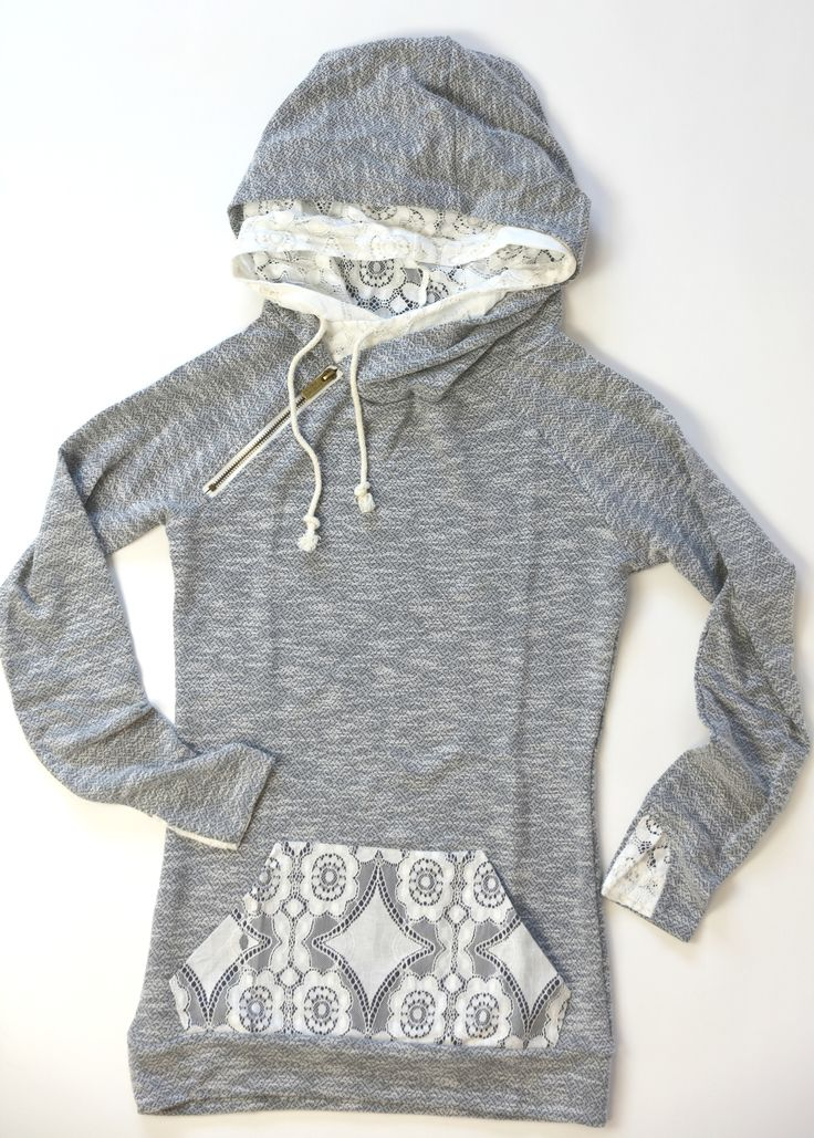 DoubleHood Sweatshirt - Lace cute idea, though I'm not sure about the lace hood and the regular hood, maybe a lace lined hood?