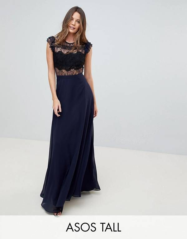 ASOS TALL Kate Lace Maxi Dress with Lace Frill Sleeve