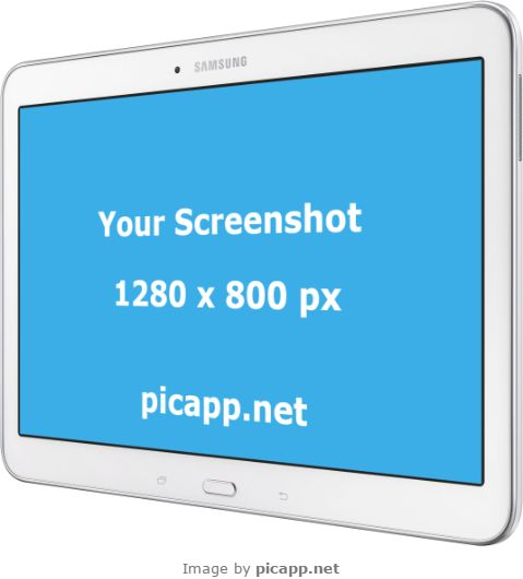 This cool white Samsung Galaxy tab can represent your next marketing idea that will bring more people to your app. Brand this image now with your android app screenshot by going to PicApp.net and find the Samsung Tablets categories. Now upload your image and you're ready to download it.  #samsungTab4 #nobackground #mockup #samsung #tab4 #picapp