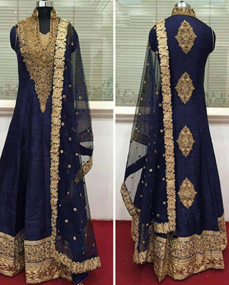 Blue Long Anarkali Suit