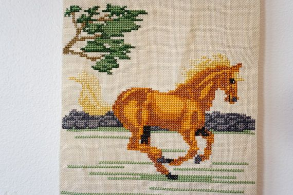 Hand Embroidered Wall Decor. Cross Stitched by ScandicDiscovery