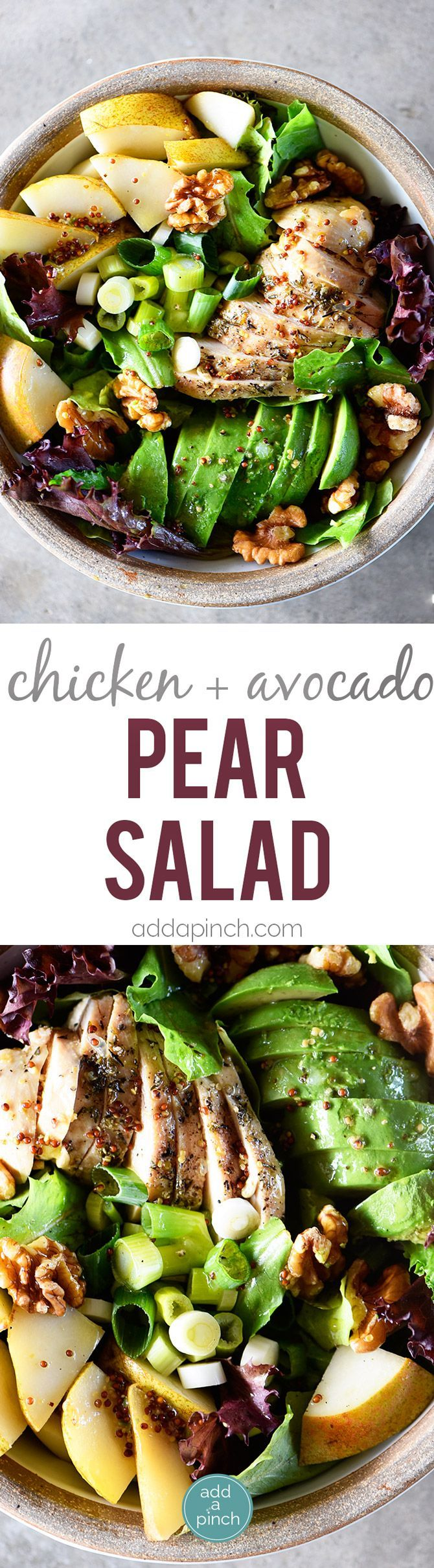 Fall Chicken Avocado Pear Salad Recipe - This salad makes for a delicious fall salad recipe! Filled with chicken, avocado, pears, walnuts, and topped with a Honey Mustard Dressing! // addapinch.com