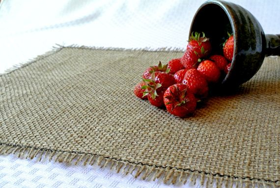 Natural BURLAP PLACEMATS with Frayed Edge and by DappleDesignShop, $15.00