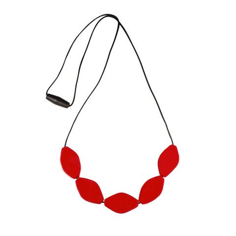 Teething Jewellery - Large Tulip Bead Necklace Red – Baby Luno