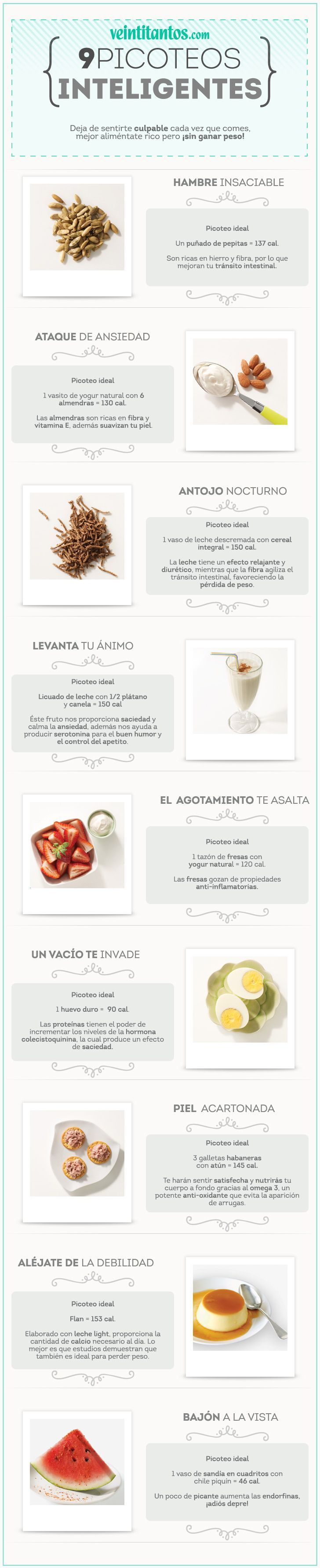 9 picoteos ANTI KILOS. Aliméntate rico pero ¡sin ganar peso! #TipFit (scheduled via http://www.tailwindapp.com?utm_source=pinterest&utm_medium=twpin&utm_content=post13938898&utm_campaign=scheduler_attribution)