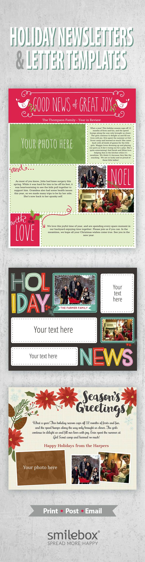 Create beautiful Christmas newsletter and letters to update and connect with loved ones. Smilebox makes it easy to share the news of the year with favorite photos, custom message and animated Christmas newsletter template designs