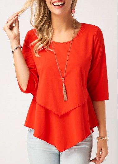 Layered Asymmetric Hem Three Quarter Sleeve Blouse .
