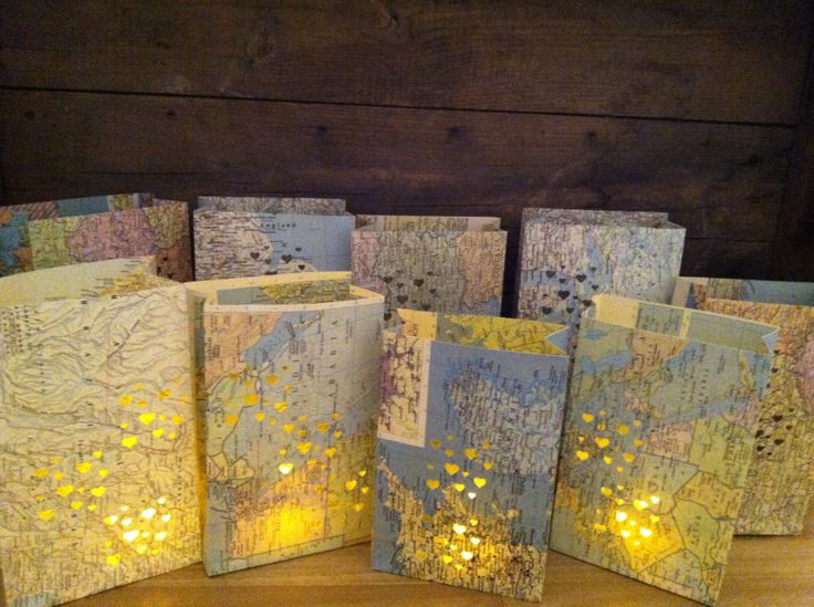 20 small map luminaries wedding decor travel theme by for Decoration voyage