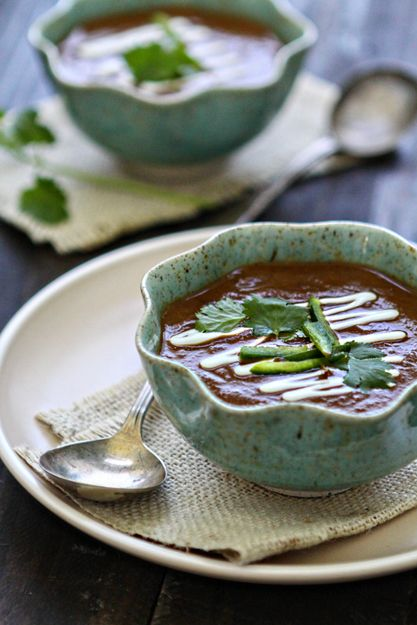 Black Bean Soup with Roasted Chiles and Tomatoes