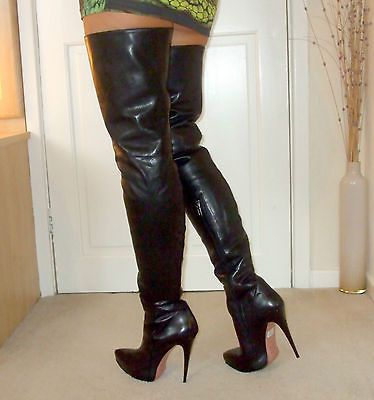 Stunning ITALIAN Leather Stiletto Heel Over Knee  Thigh / Crotch Boots 10 43 12
