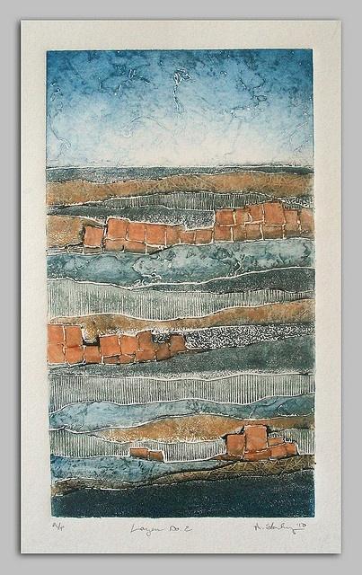 Artist: Andrea Starkey. Title: layers 2. Year: 2010. Description: collagraph landscape.