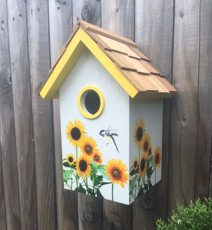 Botanical Floral Print Standard Birdhouse Sunflowers Bird Houses