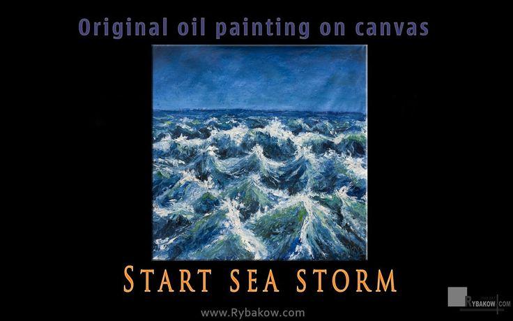 Mighty Seascape - Impasto Sea oil Painting - ART by Valery Rybakow