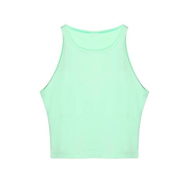 Yoins Yoins Crew Neck Crop Top ($7.21) ❤ liked on Polyvore featuring tops, green, shirts & tops, leather top, sports crop top, sport shirts, mint crop top and green shirt
