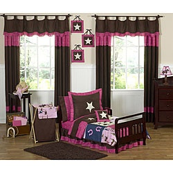 @Overstock - Sweet JoJo Designs Western Horse Cowgirl 5-piece Toddler Girl's Bedding Set - This Cowgirl western bedding set for girls by JoJo Designs will help your little girl kick up her heels and drift off to dreamland like a real cowgirl. This five-piece bedding set is detailed with embroidered horseshoes and sheriff stars.    http://www.overstock.com/Bedding-Bath/Sweet-JoJo-Designs-Western-Horse-Cowgirl-5-piece-Toddler-Girls-Bedding-Set/5298502/product.html?CID=214117  $89.99