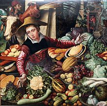 """Pieter Aertsen, """"The Vegetable Seller"""", 1567. -Vegetables available in Northern Europe, Waffles!,"""