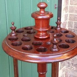 Fully restored.Victorian 21 hole antique revolving cue stand.B606a | Browns Antiques Billiards and Interiors.