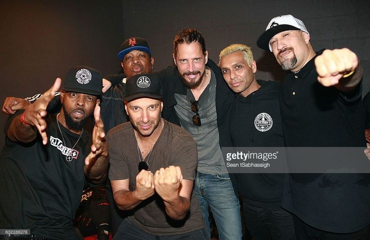 Musicians Chuck D, Tom Morello, Chris Cornell, Tony Kanal and B-Real pose back stage after porforming at Teragram Ballroom during the Anti-Inaugural Ball on January 20, 2017 in Los Angeles, California.