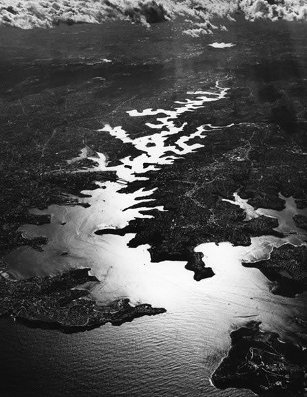 Sydney Harbour from 20,000 feet – 1992.  Photograph by David Moore.