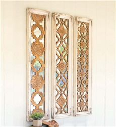 Decorative Wooden Mirrors, Set of 3