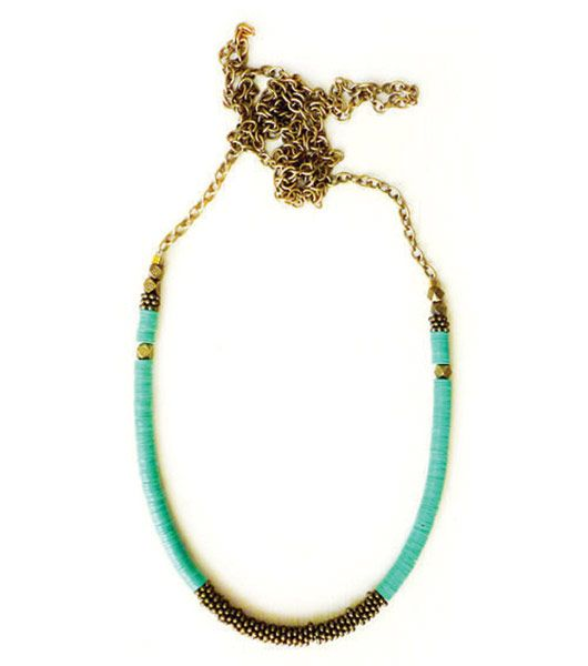 Fortune - Green Brass Disc Necklace