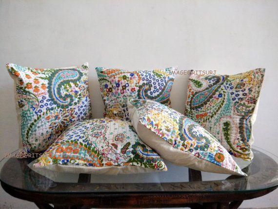 New Indian Art Handmade Cotton Bird Kantha Sofa Throw Decor Pillow Cushion Cover