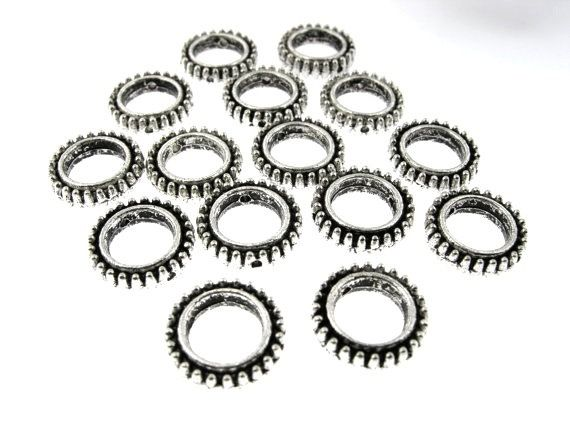 30 pcs 13mm Oxidized Silver Round Loops 2 by FancyGemsandFindings, $4.95